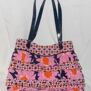 Vera Bradley purse pink blue ruffled medium EUC